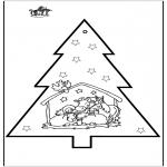 Coloriages Noël - Carte de piqûre - Crèche de Noël 2