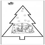 Coloriages Noël - Carte de piqûre - Crèche de Noël 3