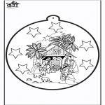 Coloriages Noël - Carte de piqûre - Joseph et Marie