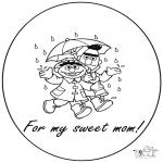 Bricolage coloriages - Carte pour maman