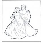 Coloriage thème - Cendrillon au bal Saint Valentin