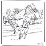 Coloriages d'animaux - Cerfs dans la neige