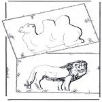 Coloriages d'animaux - Chameau et lion
