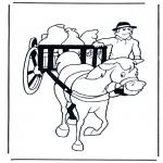 Coloriages d'animaux - Charette et cheval