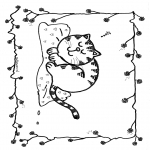 Coloriages d'animaux - Chat dormant