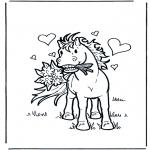 Coloriages d'animaux - Cheval amoureux