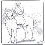 Coloriages d'animaux - Cheval avec cavalière