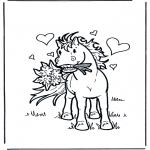 Coloriages d'animaux - Cheval avec des fleurs