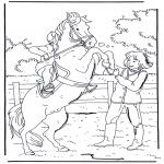 Coloriages d'animaux - Cheval cabré