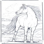 Coloriages d'animaux - Cheval dans le vent
