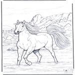 Coloriages d'animaux - Cheval dans leau