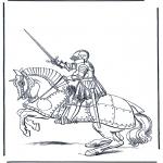 Coloriages faits divers - Chevalier à cheval