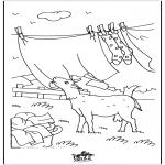 Coloriages d'animaux - Chèvre avec le linge