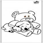 Coloriages d'animaux - Chien et Ours