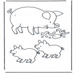 Coloriages d'animaux - Cochon
