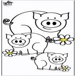 Coloriages d'animaux - Cochons 4