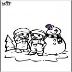 Coloriages hiver - Coloriage de bonhomme de neige 2