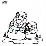 Coloriages hiver - Coloriage de bonhomme de neige 3
