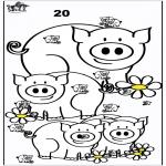 Bricolage coloriages - Compter les porcs