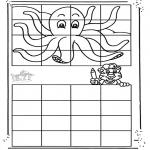 Bricolage coloriages - Copie la pieuvre