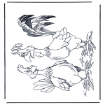 Coloriages d'animaux - Coq et poule