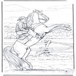 Coloriages faits divers - Cowboy à cheval