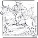 Coloriages d'animaux - Cowboy avec cheval