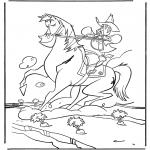 Coloriages d'animaux - Cowboy sur cheval