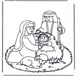 Coloriages Noël - crèche de Noël 1