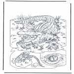 Coloriages d'animaux - Crocodile 1
