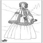 Coloriages faits divers - Dame du 19e siècle 1