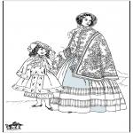 Coloriages faits divers - Dame du 19e siècle 2
