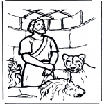 Coloriages Bible - Daniel en fosse de lions 1