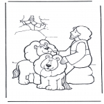 Coloriages Bible - Daniel en fosse de lions 2