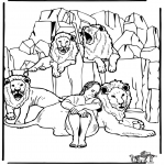 Coloriages Bible - Daniel en fosse de lions 3