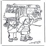 Coloriages pour enfants - Dans le car scolaire