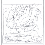 Coloriages d'animaux - Dauphin blanc