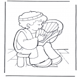 Coloriages Bible - David et sa lyre