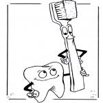 Coloriages faits divers - Dent et brosse à dents