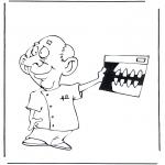 Coloriages faits divers - Dentiste avec radiographie
