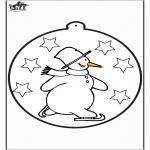 Coloriages hiver - Dessin à piquer - Bonhomme de neige 1