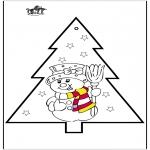 Coloriages Noël - Dessin à piquer - Bonhomme de neige 2