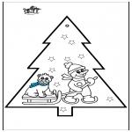 Coloriages Noël - Dessin à piquer - Bonhomme de neige 3