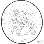 Bricolage cartes de piquer - Dessin à piquer - bonhomme de neige