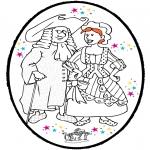 Coloriage thème - Dessin à piquer Carnaval