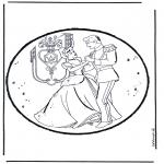 Bricolage cartes de piquer - Dessin à piquer - Cendrillon 1