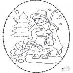 Coloriages Noël - Dessin à piquer - crèche
