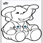 Bricolage cartes de piquer - Dessin à piquer - Éléphant 2
