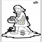 Bricolage cartes de piquer - Dessin à piquer - fille