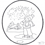 Bricolage cartes de piquer - Dessin à piquer - hiver 1
